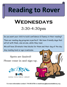 Reading to Rover - Summer Sessions @ Buena Vista Public Library | Buena Vista | Colorado | United States