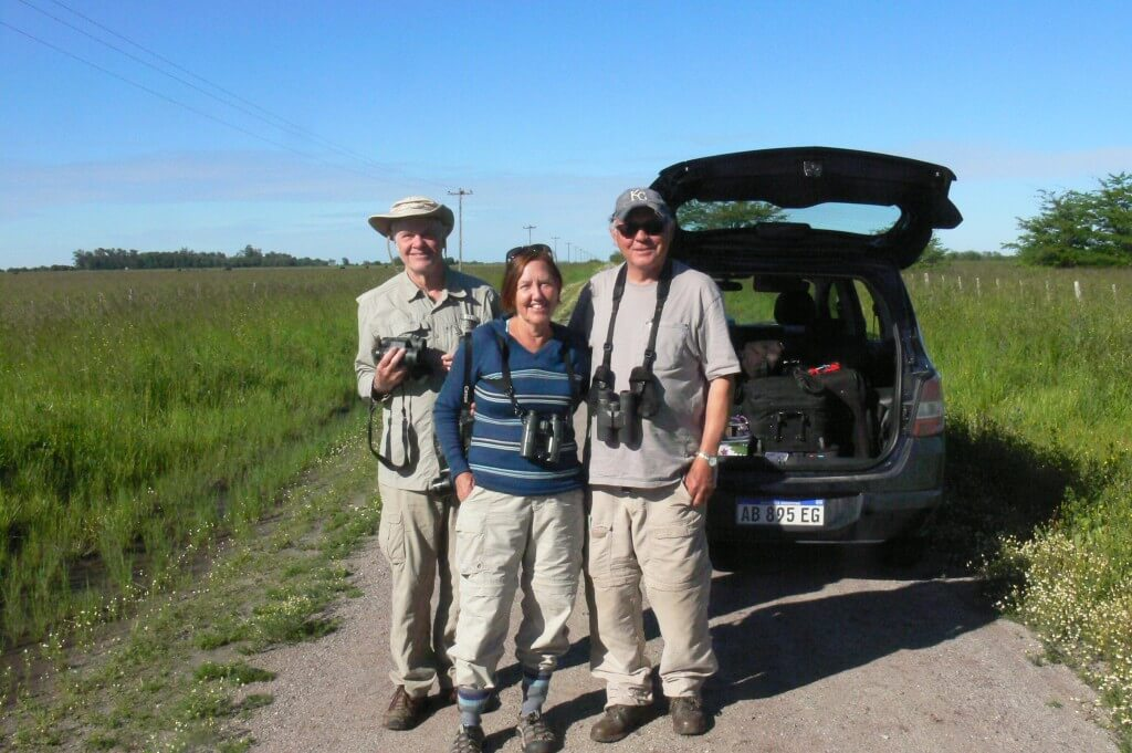 Mary, Bill and Bob birding at Punta Rasa. October 2017.