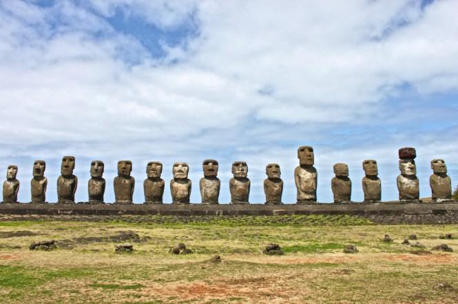 les 15 statues Ahu Tongariki visiter l'île de pâques