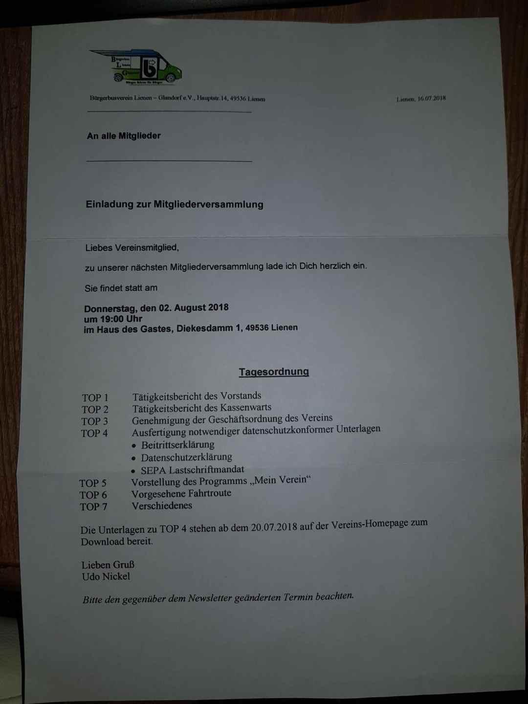 Einladung Mitgliederversammlung Bürgerbus