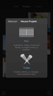 iMovie screenshot Neues Projekt starten