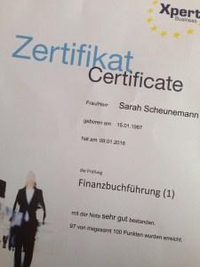 Tolles Prüfungsergebnis für Sarah Scheunemann!