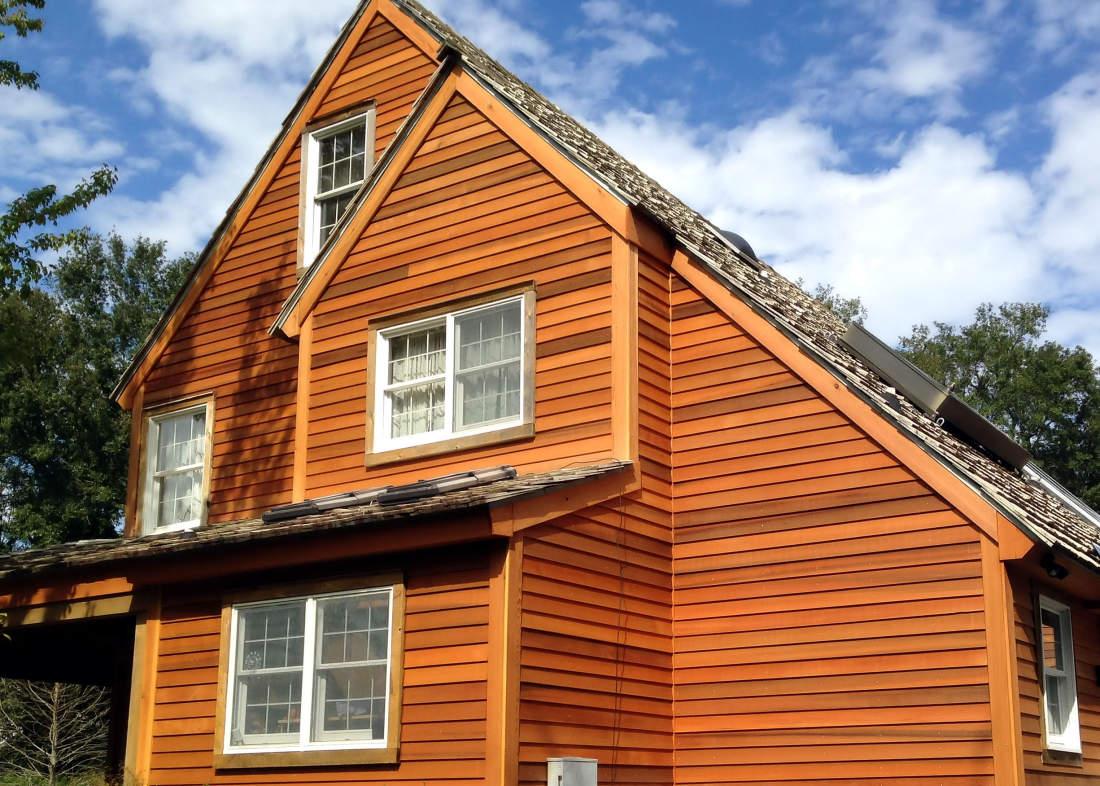 1x4 TampG Cedar Ceiling Soffit With Large Cedar Beam