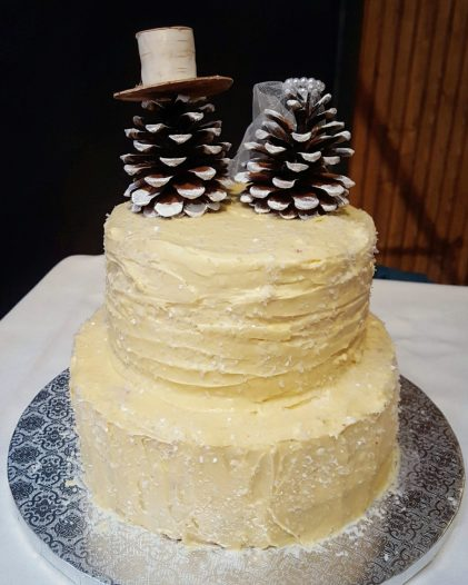 Rustic Red Velvet Winter Wedding Cake