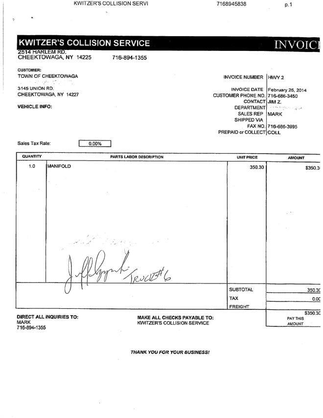 Kwitzer Invoices