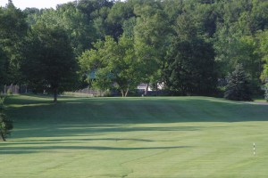 The elevated 13th green at Chestnut Hill