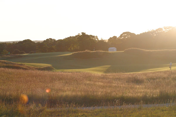 1st Fairway, directly into the rising sun