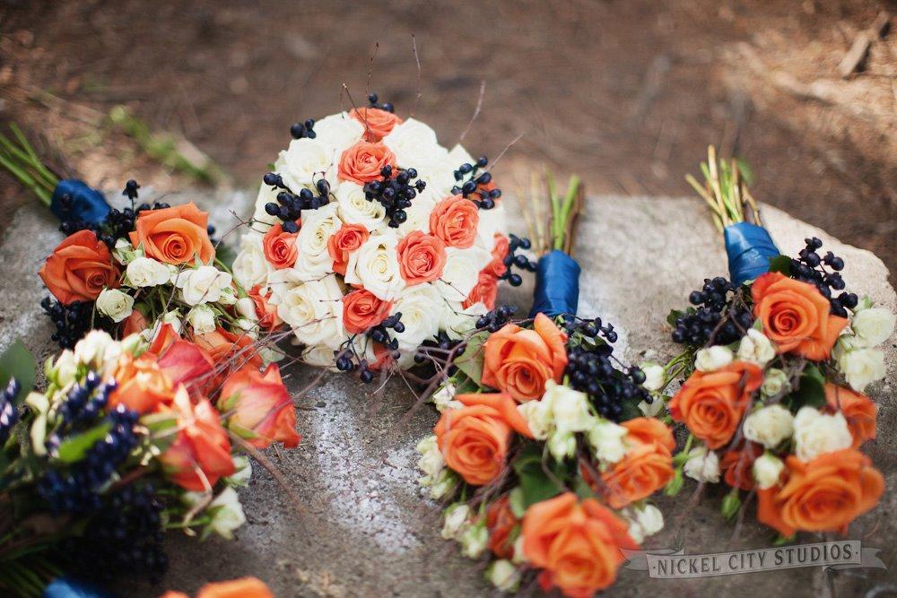 Rustic Orange & Navy Blue Wedding Flowers