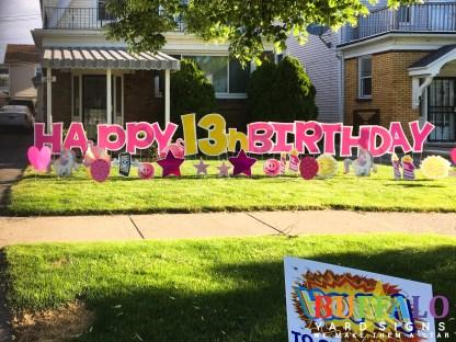 Pink Birthday Lawn Sign Buffalo New York
