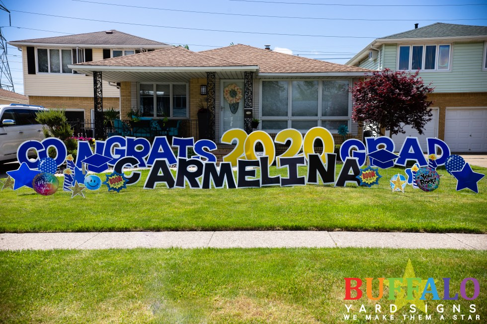 Congrats grad yard sign in blue