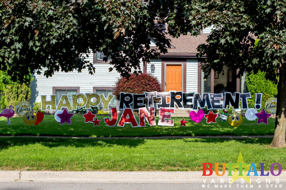 Happy Retirement yard sign