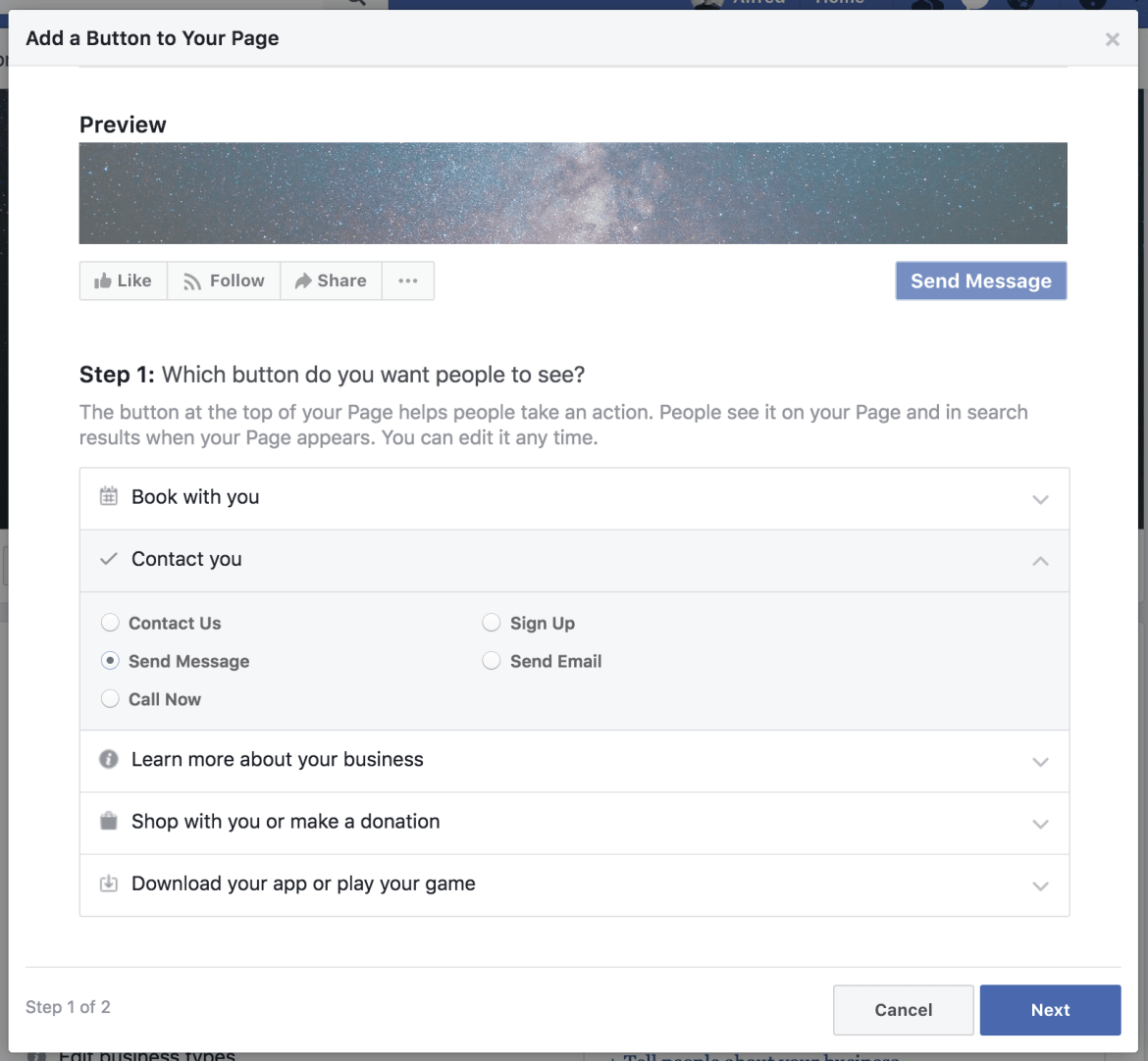 Add a Page button
