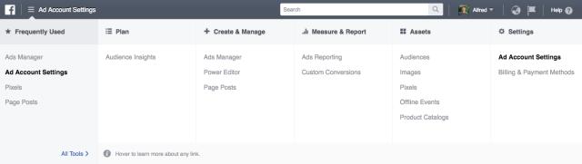 Navigating to ad account settings