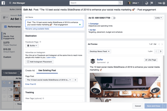 Edit Facebook ads