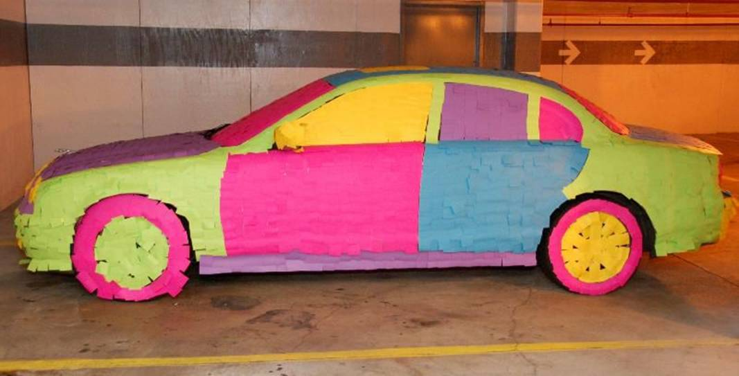 car covered in Post-It notes, 2
