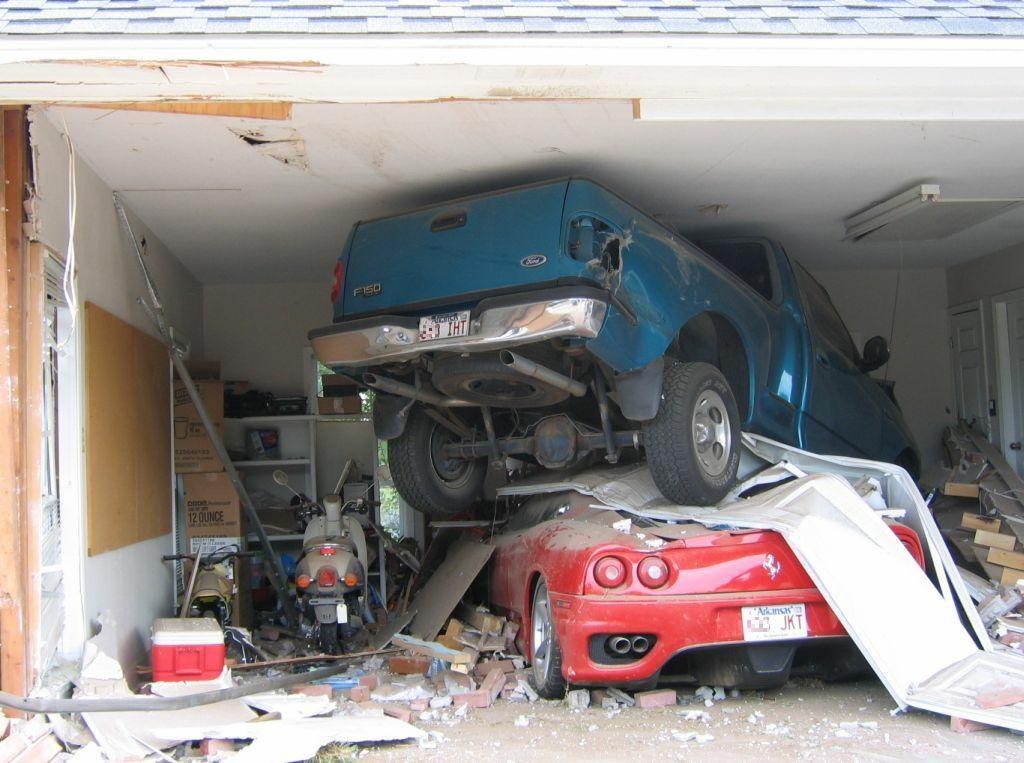 horrendous crash in garage