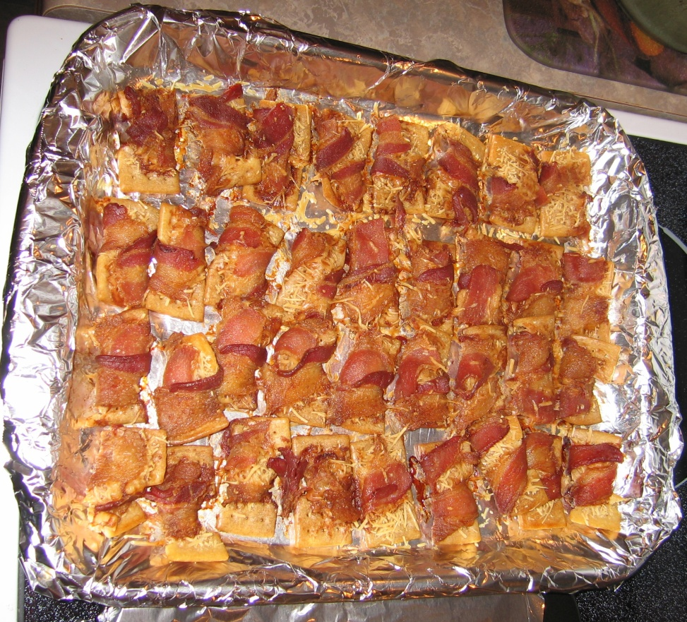 bacon-wrapped club crackers, with cheese