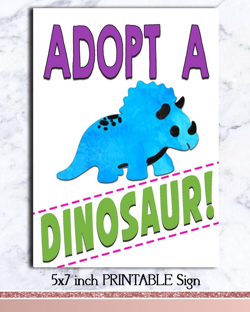 Dinosaur Birthday Adopt A Dinosaur Sign Bug And Bean Graphics