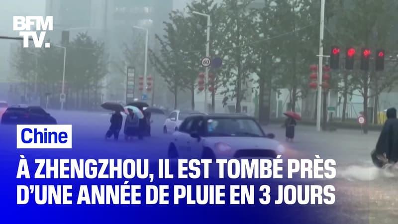 À Zhengzhou en Chine, il est tombé près d'une année de pluie en 3 jours
