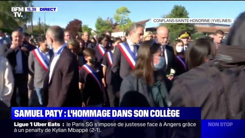Conflans-Sainte-Honorine rend hommage à son professeur Samuel Paty dans un cortège rassemblant plusieurs centaines de personnes