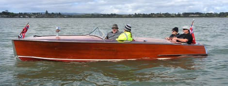 Some old timers in a Chris Craft