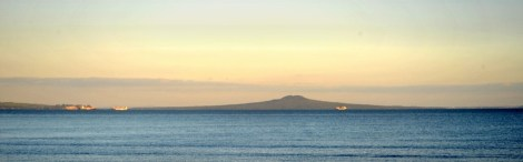 Ships waiting out by Rangitoto