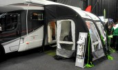 The Kampa Awning on the side of an Autotrail