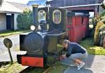 Raewyn oiling the wheels