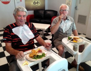 Peter and Bernie on their tables!