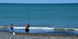 Fishing off the beach