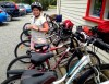 Chloe with the bikes at Margrains