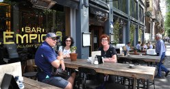 Gary, Fiona and Dianne at a cafe
