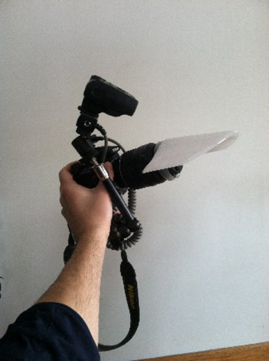macro rig showing visor diffuser from the side