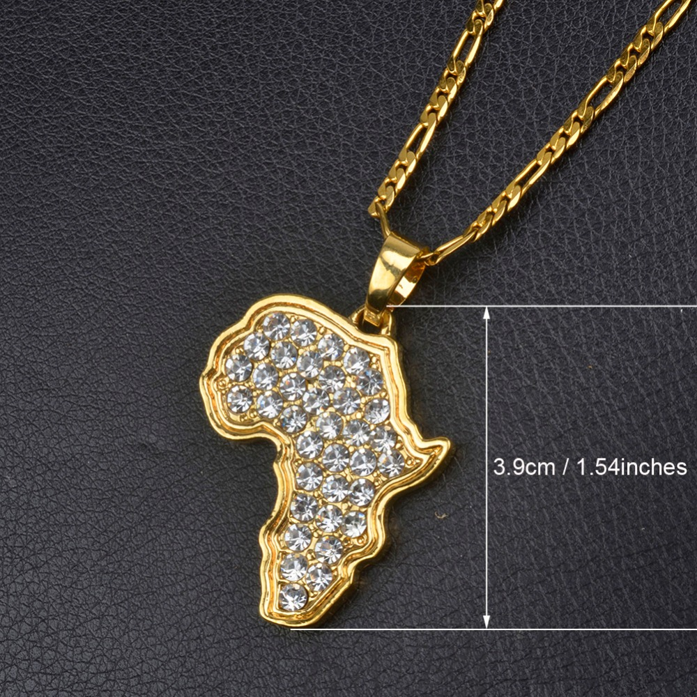 Anniyo 9 style africa map pendant necklace for womenmen silvergold anniyo 9 style africa map pendant necklace mozeypictures Images