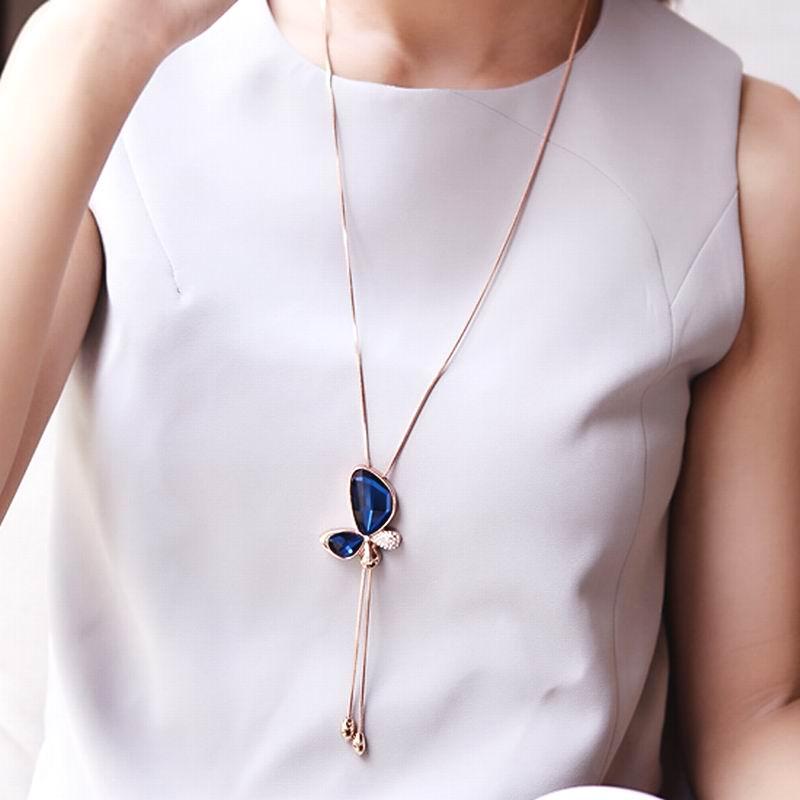 Classic crystal butterfly tassel long necklace women bijoux new classic crystal butterfly tassel long necklace women bijoux new fashion jewelry aloadofball Gallery