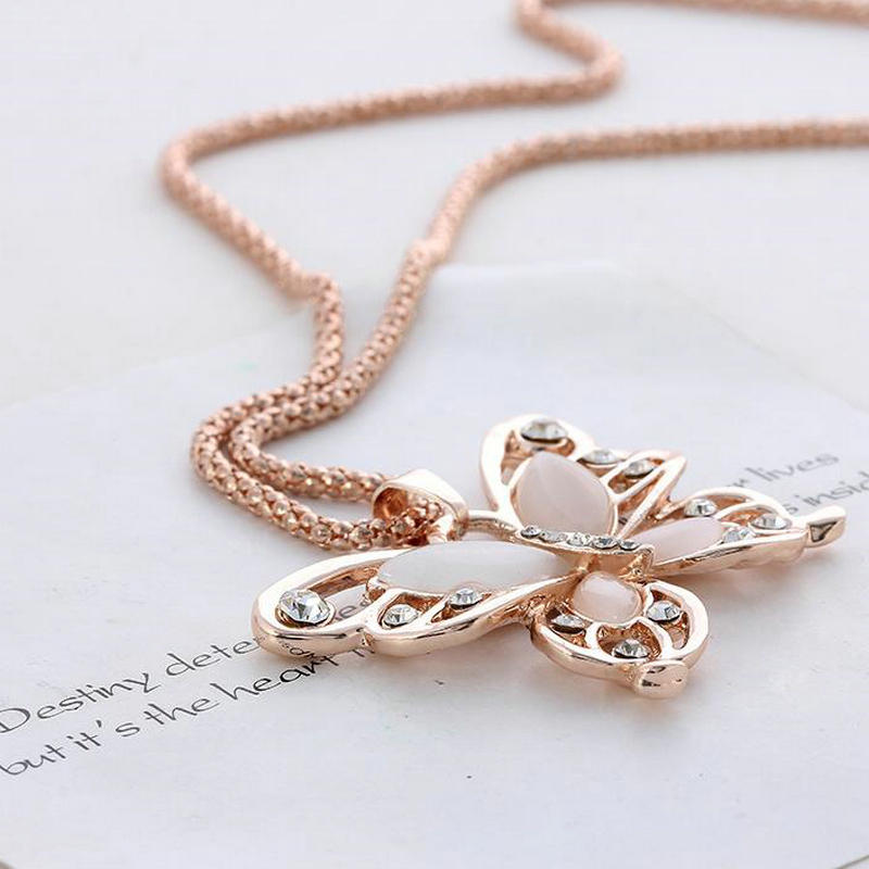 Rose gold acrylic crystal 4cm big butterfly pendant necklace 70cm rose gold acrylic crystal 4cm big butterfly pendant necklace 70cm long mozeypictures Choice Image