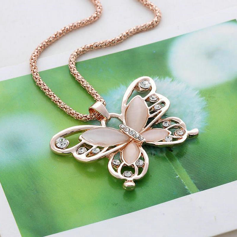 Rose gold acrylic crystal 4cm big butterfly pendant necklace 70cm rose gold acrylic crystal 4cm big butterfly pendant aloadofball Choice Image