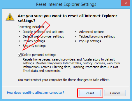 ie delete personal settings
