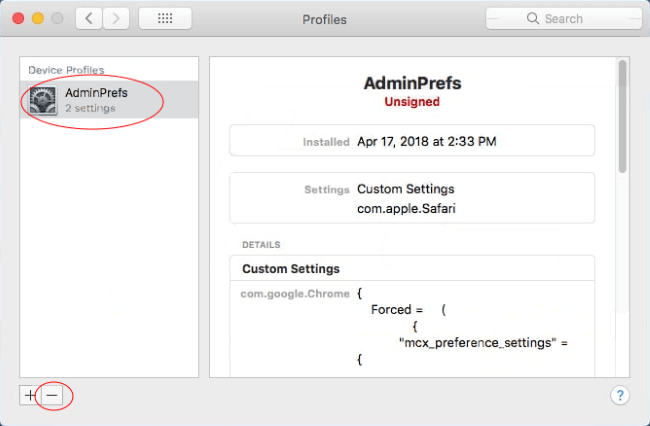 remove unwanted profile from system preferences