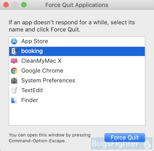 Booking.com force quit