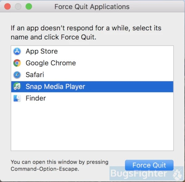 Snap Media Player force quit
