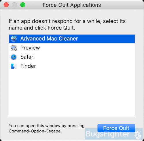 advanced mac cleaner force quit