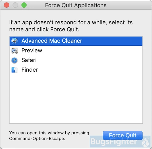 advanced mac cleaner force quit