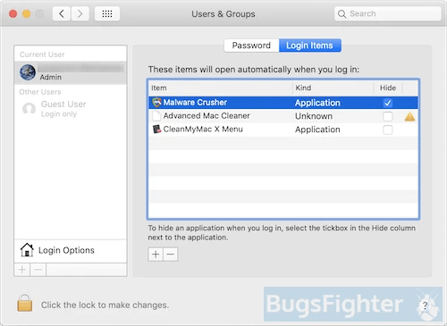 malware crusher login items on mac