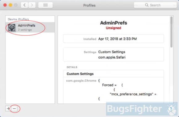 remove Searchpage.com profile from system preferences