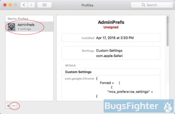 remove Spyder-finder.com profile from system preferences