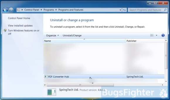uninstall pdf converter hub from control panel