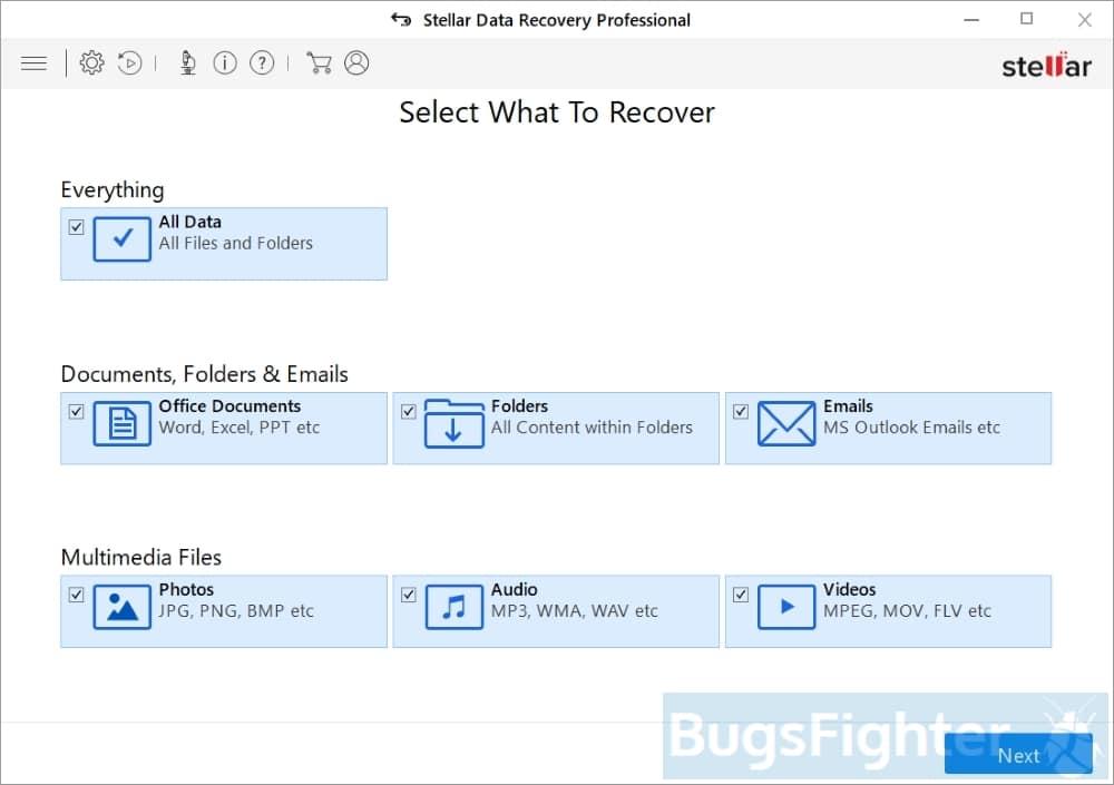 stellar data recovery professional