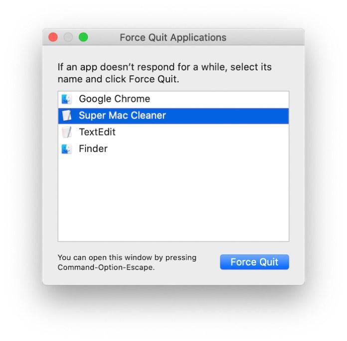 Super Mac Cleaner force quit