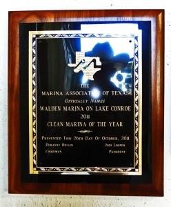 Walden Marina 2011 Clean Texas Marina of the year Award